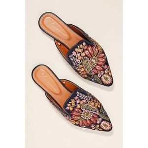 Anthropologie Embroidered Beaded Mules